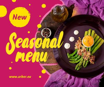 Seasonal Menu offer with green asparagus