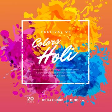 Indian Holi Festival with Colourful Frame