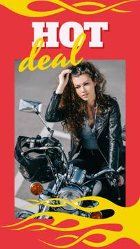 Stylish girl on motorcycle