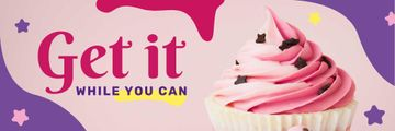 Motivational Quote with Sweet Pink Cupcake