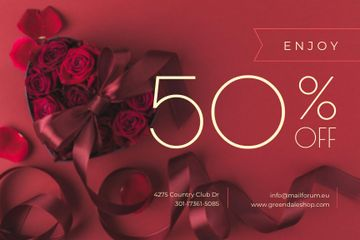 Discount Offer with Heart-Shaped Gift Box
