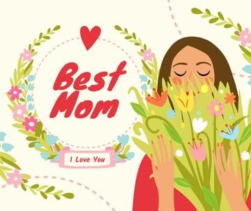 Dreamy girl holding Mother's Day bouquet