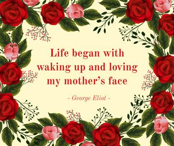 Mother's Day greeting with red Roses frame