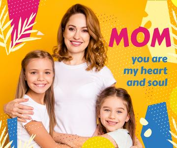 Happy Mom with daughters on Mother's Day