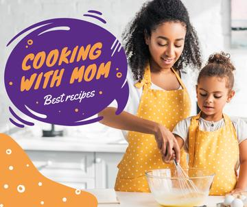 Cooking Recipe with Mother and Daughter in Kitchen