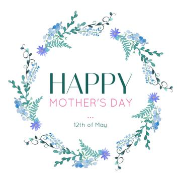 Mother's Day Greeting Blue Spring Flowers Wreath