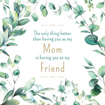 Mother's Day Quote Green Leaves Frame