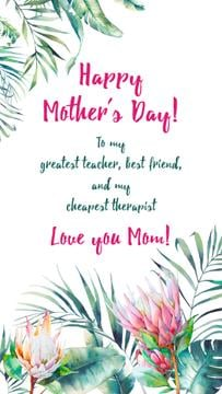 Mother's Day Greeting in Tropical plants frame