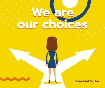 Businesswoman standing on Choices crossroads