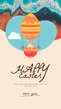 Easter Greeting Bunny on Air Balloon