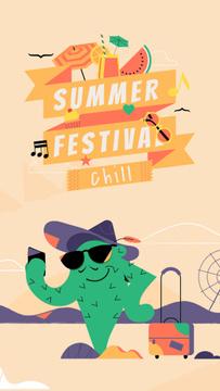 Summer Festival Invitation Cactus Taking Selfie