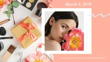Makeup Gift Girl Holding Flower