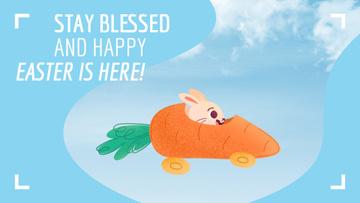Bunny riding carrot car