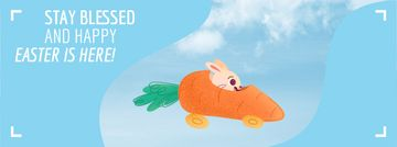 Bunny riding carrot car on Easter