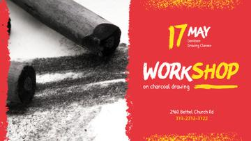 Drawing Workshop invitation with Charcoal Pieces