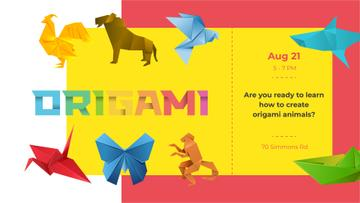 Origami Classes invitation with Animals Paper Figures
