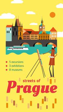 Artist painting city