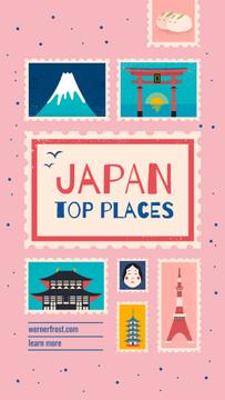 Japan travelling spots on pink