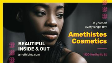 Cosmetics event with Beautiful African American Woman