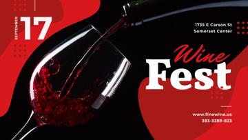 Wine Festival invitation pouring Red Wine
