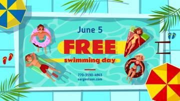 Free Swimming Day People in Pool