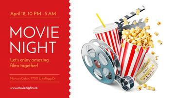 Movie Night Invitation with Popcorn