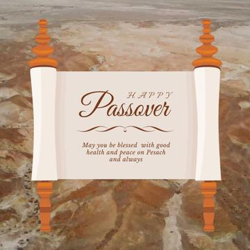 Passover Greeting on Scroll over Desert