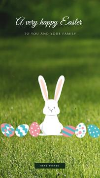 Easter Cute Bunny with Colored Eggs