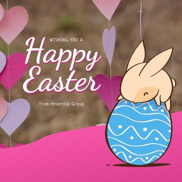 Easter Greeting with Cute Bunny on Egg