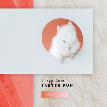 Cute Easter bunny on light Background