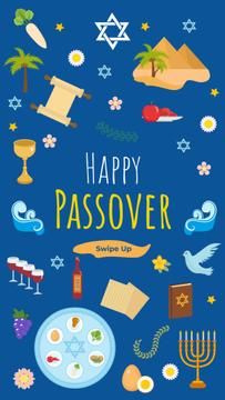 Happy Passover holiday on blue