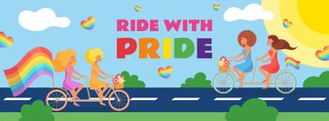 People riding bikes with rainbow flags