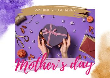 Mother's Day Greeting with Heart-Shaped Gift Box