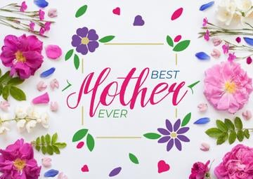 Mothers Day Greeting Frame with tender flowers