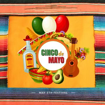 Cynco de Mayo Mexican bright Celebration