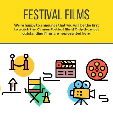 Movie festival Announcement with Film icons