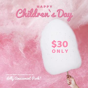 Children's day with Child holding cotton Candy