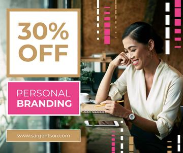 Branding Agency Offer with Businesswoman making notes