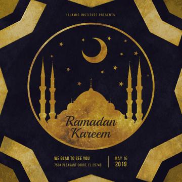 Golden mosque under new moon