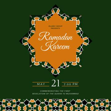 Ramadan Kareem greeting on Green