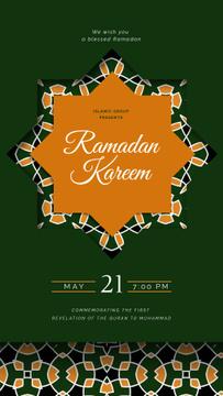 Ramadan Kareem Greeting Kaleidoscope on Green