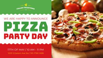 Pizza Party Day Invitation Italian Flag