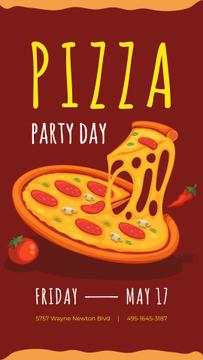 Pizza Party Day Announcement on red