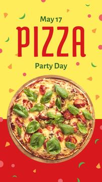 Pizza Party Day on yellow and red