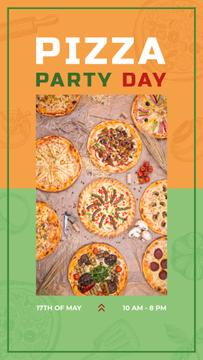 Different Pizzas on the table on Pizza Party Day