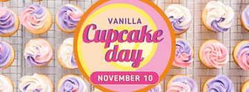 Cupcake Day with Sweet vanilla cupcakes