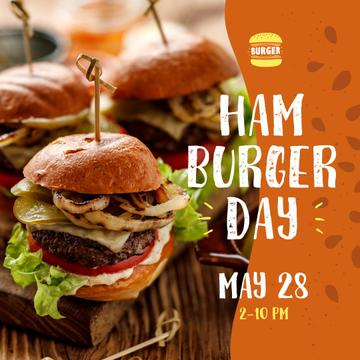 Hamburger Day Menu Hot Mouthwatering Burgers