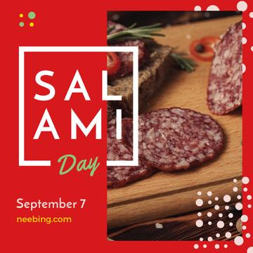 Sliced salami sausage on Salami Day