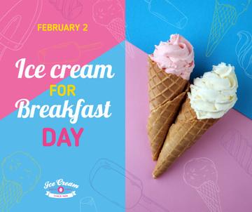 Sweet ice cream for Breakfast day celebration