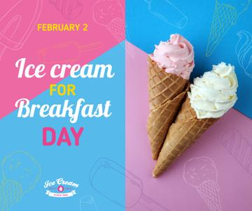 Sweet ice cream for Breakfast day celebration